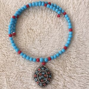 Jewelry - Turquoise and Coral Collar Necklace with Pendant